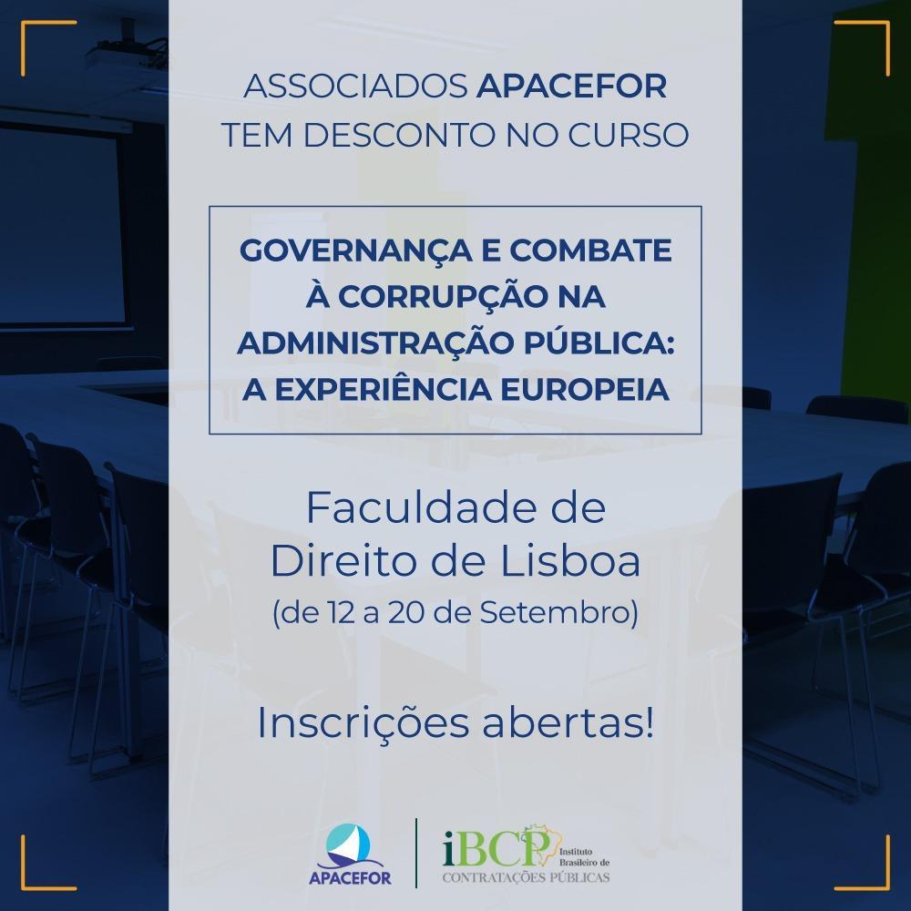 """Inscrições abertas para o curso de """"Governança e Combate à corrupção na Administração Pública: A Experiência Europeia"""""""