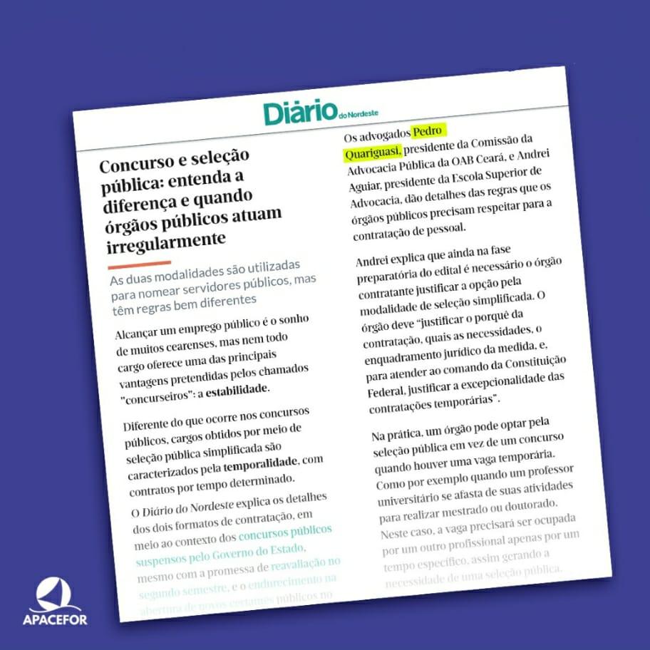 Reportagem no Diário do Nordeste destaca o que os órgãos públicos devem seguir para não cometer irregularidades