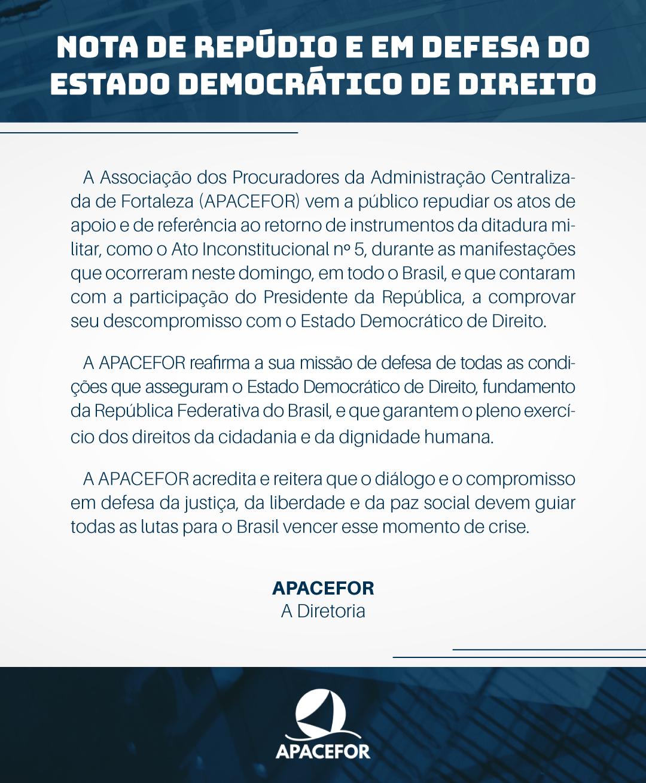 NOTA DE REPÚDIO E EM DEFESA DO ESTADO DEMOCRÁTICO DE DIREITO