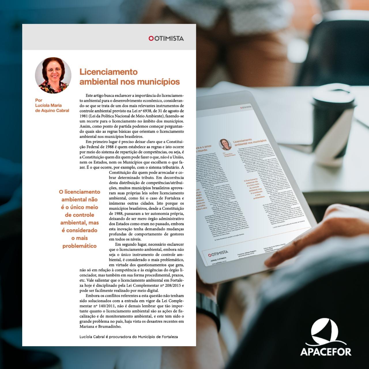 Jornal O Otimista publica artigo assinado pela Procuradora do Município Dra. Lucíola Cabral